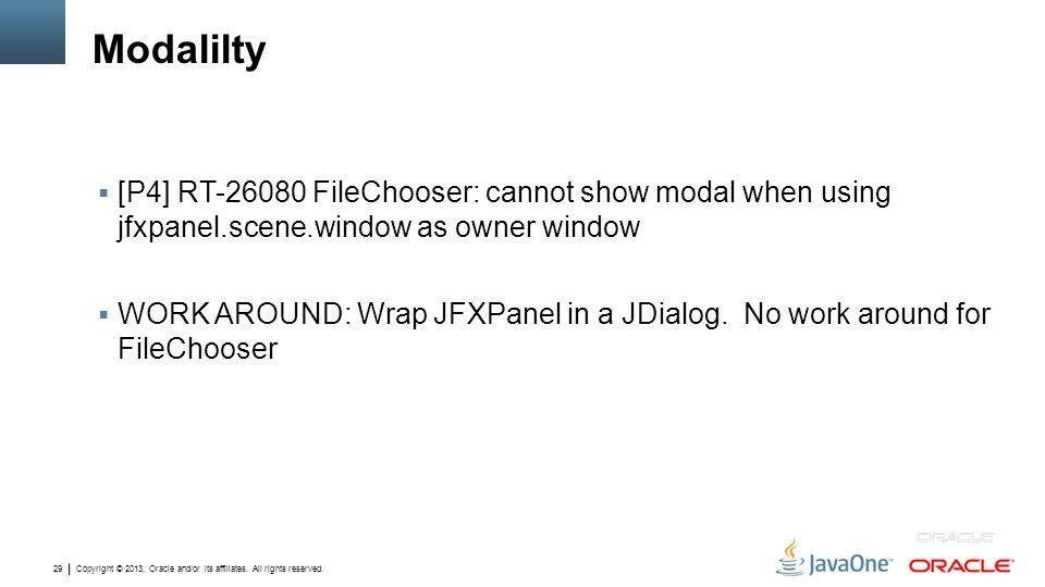 Modalilty [P4] RT-26080 FileChooser: cannot show modal when using jfxpanel.scene.window as owner window.